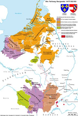 Flemish revolts against Maximilian of Austria - Division of the Burgundian possessions between France and the Habsburgs, 1477/1482/1493
