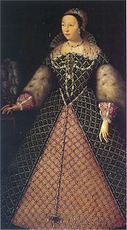 """Catherine de' Medici as queen of France. """"Her mouth is too large and her eyes too prominent and colourless for beauty,"""" wrote a Venetian envoy as Catherine approached forty, """"but a very distinguished-looking woman, with a shapely figure, a beautiful skin and exquisitely shaped hands""""."""