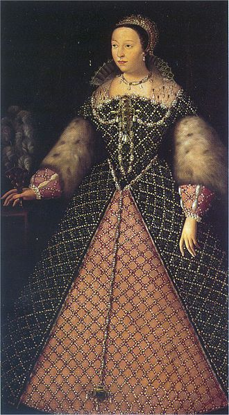 Italian fashion - The Italian Catherine de' Medici, as Queen of France.  Her fashion were the main trendsetters of courts at the time.