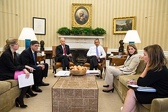 Sylvia Mathews Burwell - Kathryn Ruemmler, Jack Lew, Sylvia Mathews Burwell, and Alyssa Mastromonaco update President Barack Obama and Vice President Joe Biden on the government shutdown, October 1, 2013.