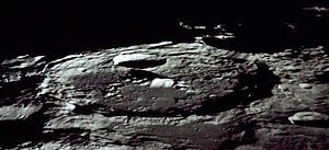 Terminator (solar) - Oblique photo of the large lunar crater Keeler at the terminator (from Apollo 13)