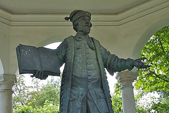 Linz - Statue of Johannes Kepler in Linz, located on a pathway between Saint Martin's Church and the Linz Schloss/castle