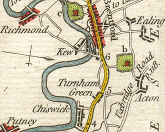 Jacobite assassination plot 1696 - Map of the area of the planned assassination attempt, from 1785. Kew Bridge as shown was constructed only in the middle of the 18th century: William III would have crossed by ferry, separating him temporarily from some of his escort.