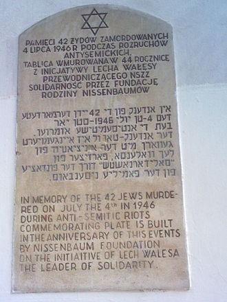 Kielce pogrom - Memorial plaque at the house on Planty 7 in Kielce dedicated by Lech Wałęsa in 1990
