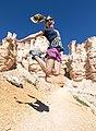 Kim Jumps for joy in Bryce (15171806980).jpg