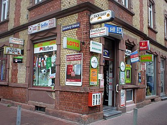 Smoking in Germany - Advertisement of tobacco in front of a shop