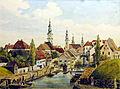 Klagenfurt Lendhafen Jahr 1843 Lithographie koloriert.jpg