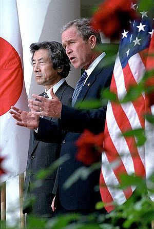 Junichiro Koizumi - Japanese Prime Minister Koizumi and U.S. President George W. Bush meet at the White House on September 25, 2001
