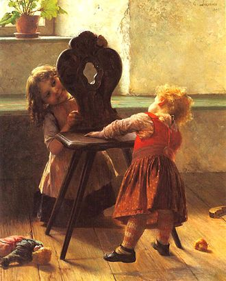 Peekaboo - Two children playing peekaboo (1895 painting by Georgios Jakobides).