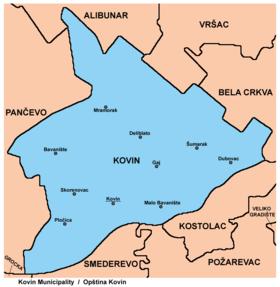 kovin mapa Општина Ковин — Википедија, слободна енциклопедија kovin mapa