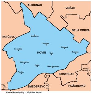 kovin mapa srbije Opština Kovin   Wikipedia kovin mapa srbije