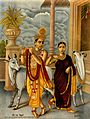 Krishna playing the flute to a dancing Radha, two holy cows Wellcome V0045087.jpg