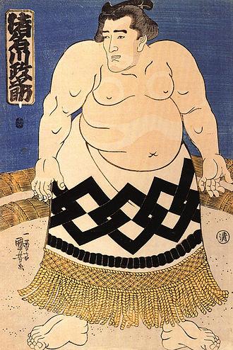 Rikishi - A rikishi drawn in Ukiyoe. Inagawa Masanosuke (highest order Sekiwaki), 1844