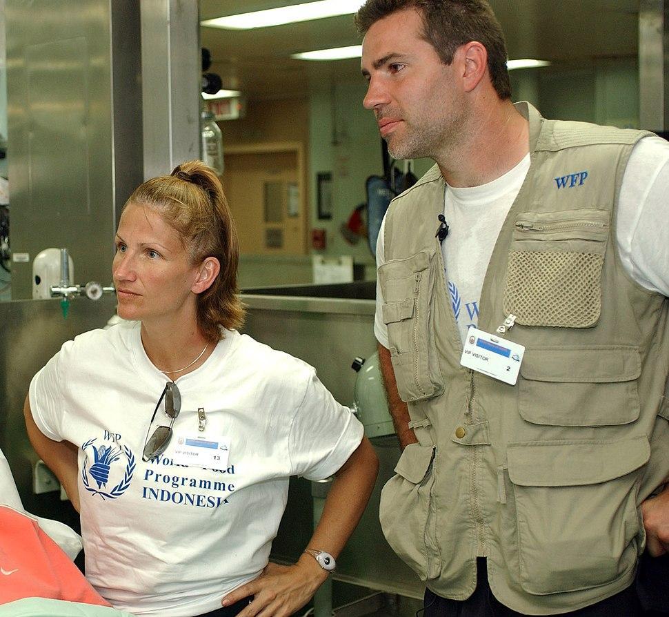Kurt & Brenda Warner on USNS Mercy 2-12-05 050212-N-6504N-002