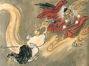 Tengu - Tengu and a Buddhist monk, by Kawanabe Kyōsai. The tengu wears the cap and pom-pommed sash of a follower of Shugendō.
