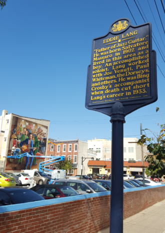 Eddie Lang - Eddie Lang Pennsylvania Historical Marker and mural by Jared Bader at 7th and Fitzwater Streets in South Philadelphia (October 19, 2016)