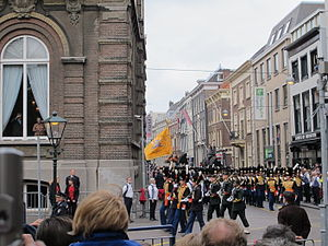 Grenadiers' and Rifles Guard Regiment - Grenadiers and Jagers march through The Hague on Prinsjesdag, 2013.