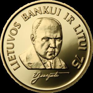 Vladas Jurgutis - Commemorative Litas coin dedicated to 75th anniversary of the Bank of Lithuania, with a portrait of Vladas Jurgutis