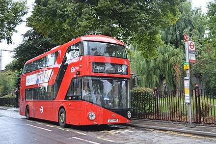 The red double decker bus is an iconic symbol of London. LT 480 (LTZ 1480) Go-Ahead London New Routemaster (20929161801).jpg