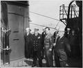 L to R, Captain James Vardaman, Gen. Harry Vaughan, Press Secretary Charles Ross, and President Harry S. Truman on... - NARA - 198721.tif