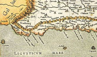 Liguria - Map of ancient Liguria, between the river Var and Magra.