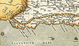 Liguria - Map of ancient Liguria, between the river Var and Magra.