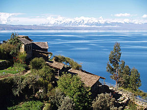 Lake Titicaca - View of the lake from the lake's Isla del Sol