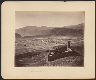 Landi Kotal - Landi Kotal during the Second Anglo-Afghan War when it served as an encampment of the 12,000-strong Peshawar Valley Field Force under General Sir Samuel Browne who was crossing the Khyber Pass on the way towards Kabul at the start of the war. The small fort in the foreground guards the western end of the Khyber Pass. Photograph by John Burke