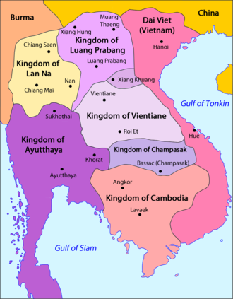 Kingdom of Luang Phrabang - Image: Laos Division territòriala vèrs 1750 (vuege)