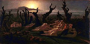 """Yan' Dargent - Yan Dargent's iconic painting  """"Les Lavandières de la nuit"""". Painted in 1861. Now in the Quimper Musée des beaux-arts. In a scene lit by moonlight, Dargent depicts the legendary ghosts of washerwoman at work"""