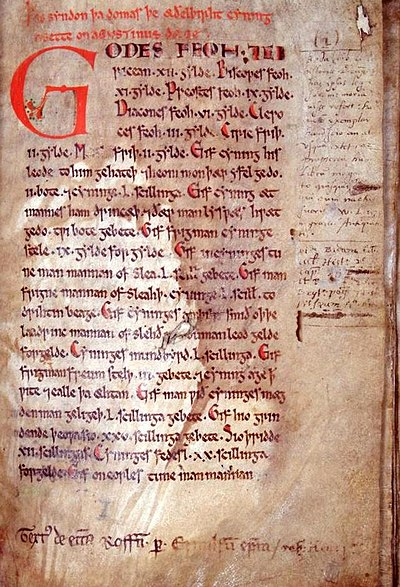 The first page of the twelfth-century manuscript known as the Textus Roffensis, which contains the oldest surviving copy of Wihtred's law code. Law of Æthelberht.jpg