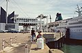Le Havre Saint Patrick II at the terminal with disembarking cars 1996 08 08.jpg