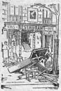 Das Restaurant Véry von außen, Zeichnung aus dem Figaro