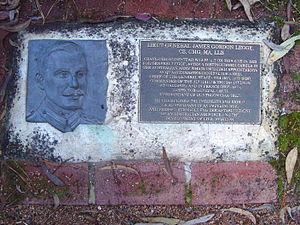 James Gordon Legge - Relief in bronze and plaque, at Cranleigh site