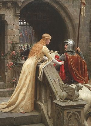 Courtly love - ''God Speed!'' by Edmund Blair Leighton, 1900: a late Victorian view of a lady giving a favor to a knight about to do battle