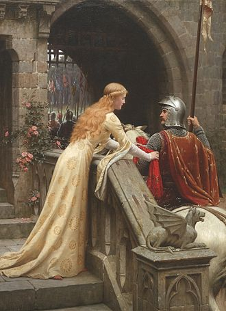 Courtly love - God Speed! by Edmund Blair Leighton, 1900: a late Victorian view of a lady giving a favor to a knight about to do battle