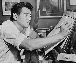 1955 in music - Composer Leonard Bernstein in 1955.