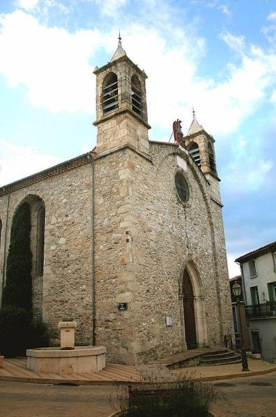 Les Aires (Hérault) - église Saint-Pierre-et-Saint-Paul (1680, agrandie en 1870).