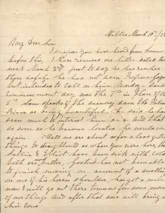 Mary Smith Jones - Letter from Mary Jones to her son Cromwell Jones, March 10, 1878