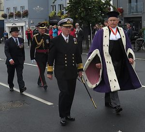 Bailiff of Guernsey - Richard Collas (right) attending the Queen's birthday parade 2016 in St. Peter Port, Guernsey in his formal robes