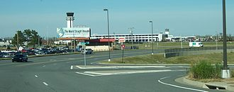 Clinton National Airport - The airport, from an approach road