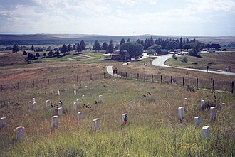 Little Bighorn Battlefield National Monument - Headquarters, from Last Stand monument