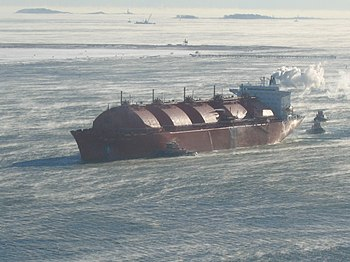 A liquefied natural gas tanker arrives in Bost...