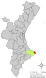 Localización de Jávea respecto a la Comunidad Valenciana