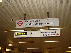 St Pancras railway station - English and French overhead information board