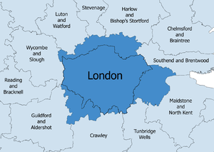 London commuter belt - The London Travel to Work Area in 2001 (dark blue), with the administrative boundary of Greater London shown.