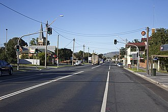 Hume Highway - The Hume Highway as it passed through Holbrook, the final town on the highway to be bypassed