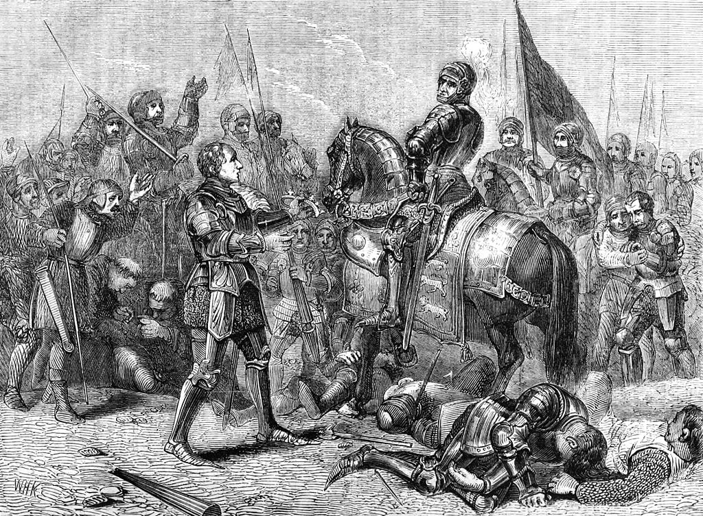 Against a background of cheering men, an armoured man on the left hands a crown to a mounted armoured man on the right.