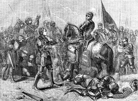 Finding Richard's circlet after the battle, Lord Stanley hands it to Henry. Lord Stanley Brings the Crown of Richard (wide).jpg