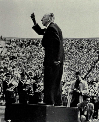"""The Victors - Louis Elbel conducting the Michigan Marching Band in """"The Victors,"""" 1958"""